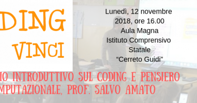 CODING da Vinci, il mio prossimo seminario a Cerreto Guidi (Firenze) il 12 novembre